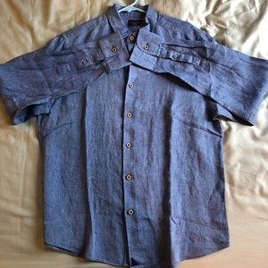 Wrinkle-Free Veneto Blue Long Sleeve Mens Shirt